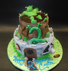Shrek Fondant Birthday Castle Cake with 3D Edible Fondant Characters