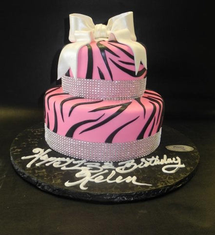 Zebra Pink and Black Fondant Cake with White Bow