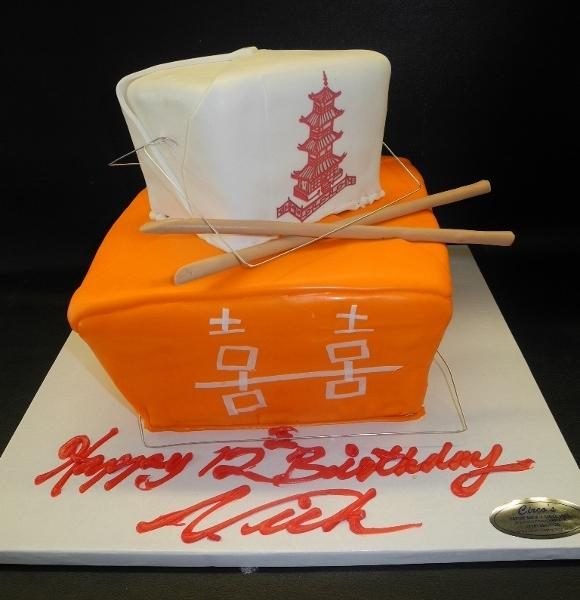 Chinese Containers  Birthday Cake with Edible Fondant Chopsticks