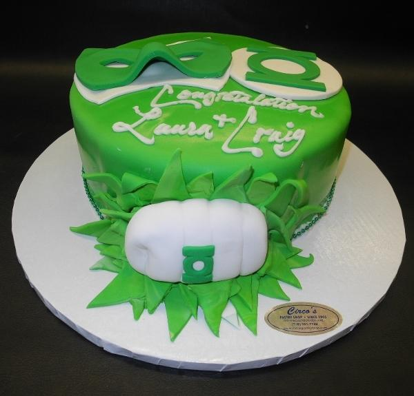 Green Lantern Engagement Fondant Cake with 3D Fist and Edible Fondant Mask