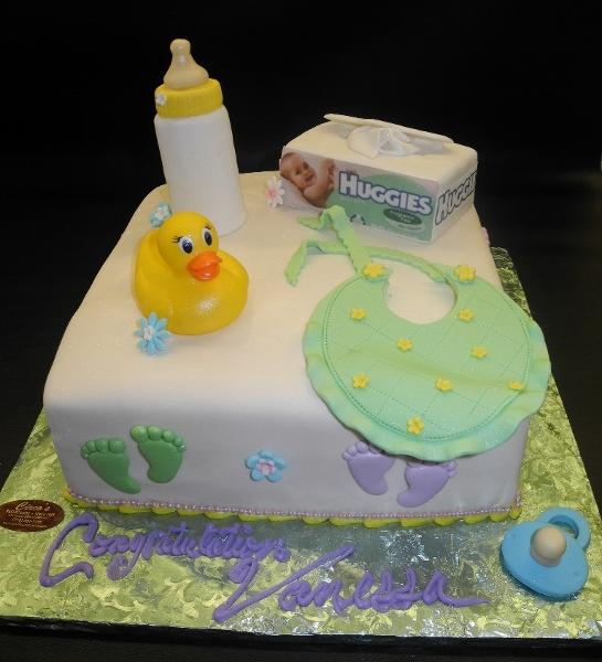 Ivory Baby Shower Square Cake with Edible Bottle, Huggies Box, Bib, and Pacifier