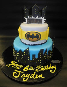 Batman Fondant Cake with Edible Logo and Fondant Handmade Buildings