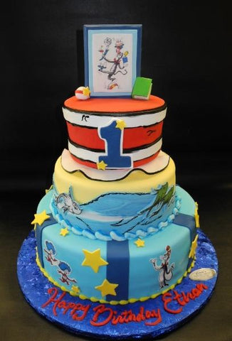 Dr. Seuss Fondant 1st Birthday Cake with Fondant Edible Accessories