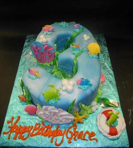Sea Fondant Number  Cake with Edible Fondant Fish and seaweed
