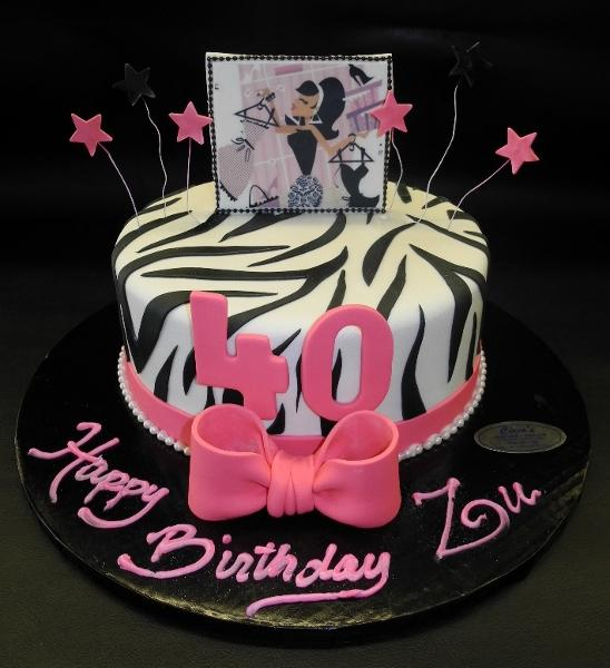 Zebra 40th Birthday Fondant Cake With Edible Image Cake Topper
