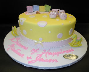 Yellow and Pink Baby Shower Fondant One tier Cake