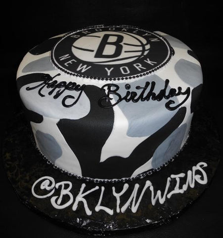 Camouflage Brooklyn Nets Fondant One tier Cake