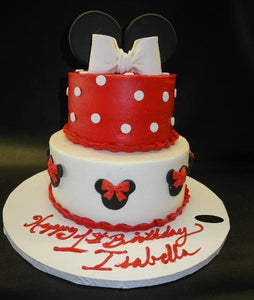 Minnie Mouse Icing Cake with Fondant Dots, Bow, and Heads
