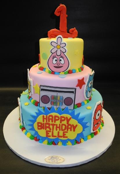 Yo Gaba Gaba Fondant Birthday Cake with Edible Face Cut-outs of Characters