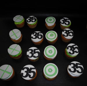 X Box Fondant Cupcakes with #35 and power button
