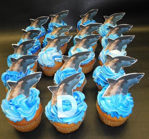 Shark Cupcakes with Blue Icing - CC044