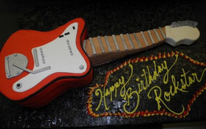 Guitar Shape Fondant Birthday Cake