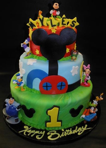 Mickey Mouse Club House Fondant Birthday Cake