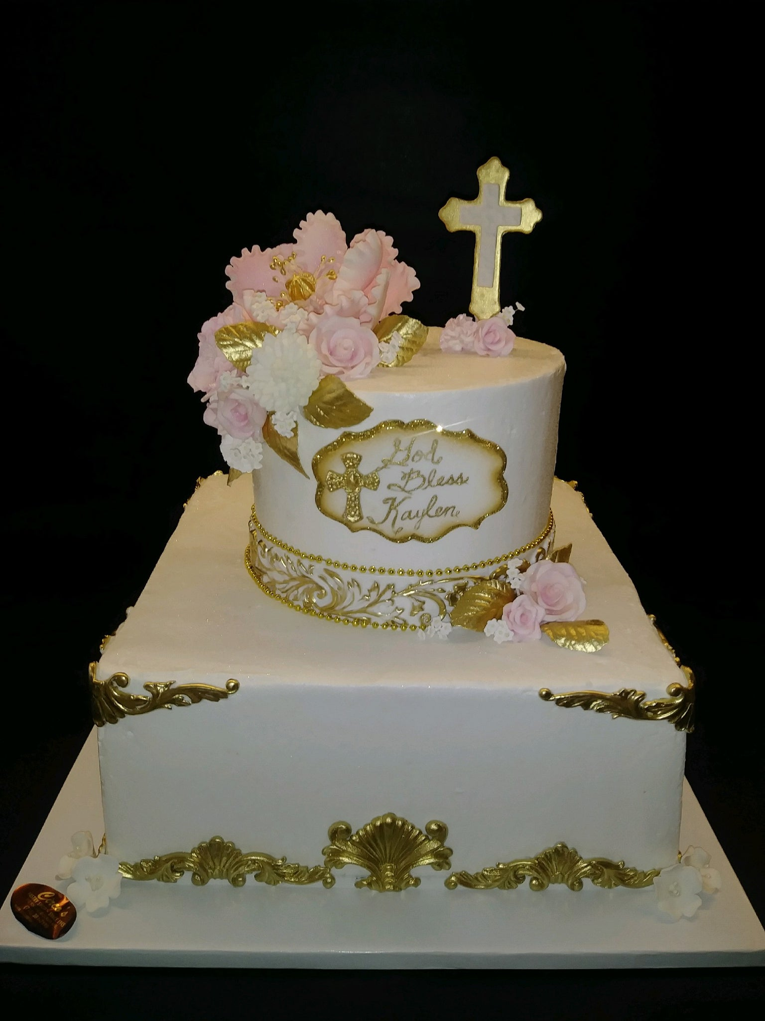 Gold, white, and pink baptismal cake -R061