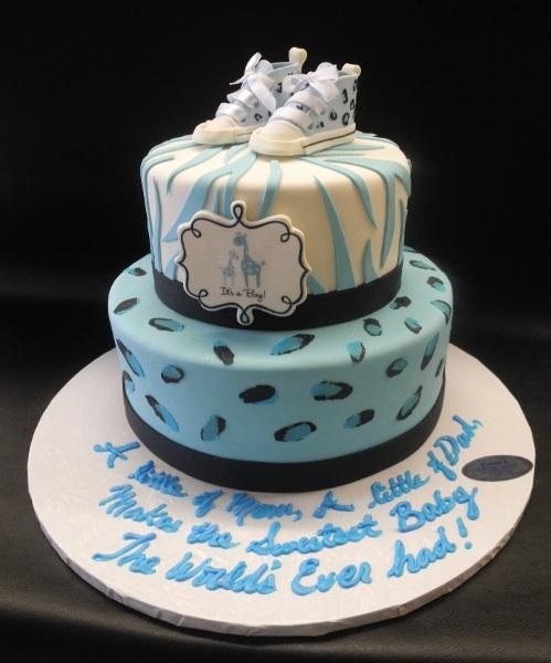 Zebra Safari Blue and White Baby Shower Cake with Edible Booties