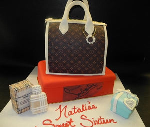 Loui Vuitton Handbag Cake with Christian Vuitton Shoe Box, Tiffany Box and Burberry Perfume