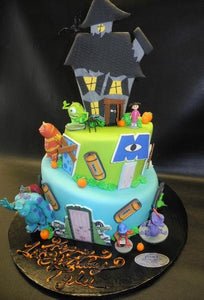 Monster Inc Fondant Cake with Toys and Edible 2D Fondant Cut Outs