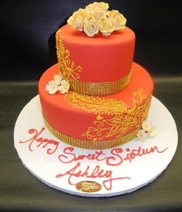 Red and Gold Fondant Sweet 16 Cake with Henna Scroll Work