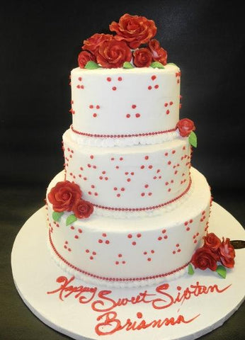 Whip Cream Red Roses Cake with Edible Cream Dots Work