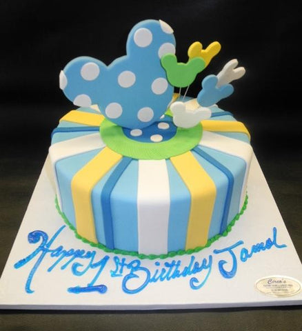 Mickey Mouse Fondant Cake for 1st Birthday with Edible Mickey Mouse Heads