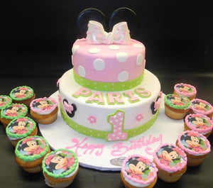 Minnie Mouse Fondant Cake with Edible Image Cupcakes