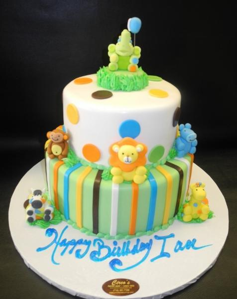Safari Animal 1st Birthday Fondant Cake