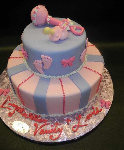 Rattle and Pacifier Fondant Baby Shower Cake