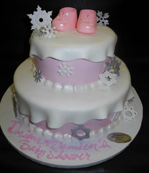 Snowflake Winter Wonderland Baby Shower Pink Cake