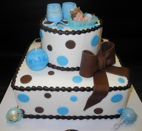 Icing Brown and Blue Baby Showet Cake with Fondant Bow and Plastic Decoration