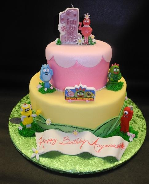 Yo Gaba Gaba Fondant Cake with toys and banner
