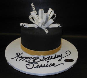Black and White Fondant Cake with Diamond Loop Bow