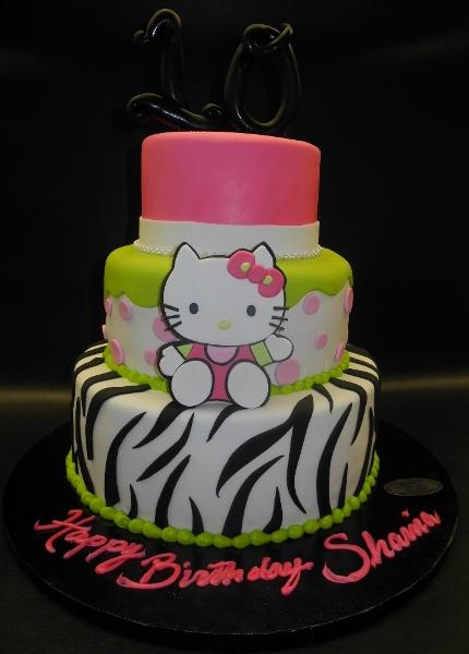 Hello Kitty Zebra Cake with Mint Green and Pink Decorations