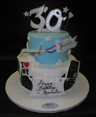 Trave Fondant Cake with Airplane Fondant Cut Outs