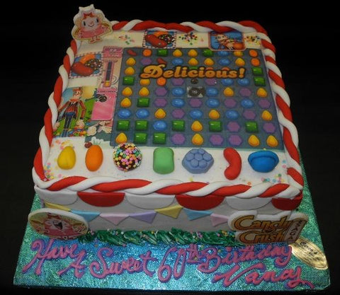 Candy Crush Icing Cake with Edible Fondant Figures and Images