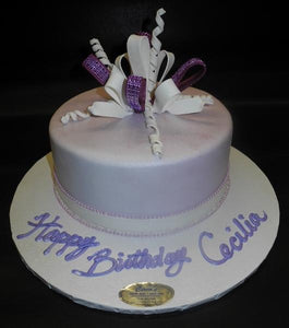 Lavender and White Fondant Cake with Edible Fondant Loop Bow