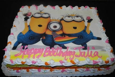 Minions Edible Image Whip Cream Birthday Cake