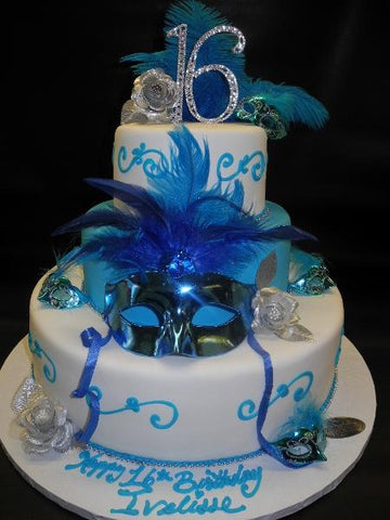 Sweet 16 Masquerade Fondant White Cake with Turquoise Scroll Work