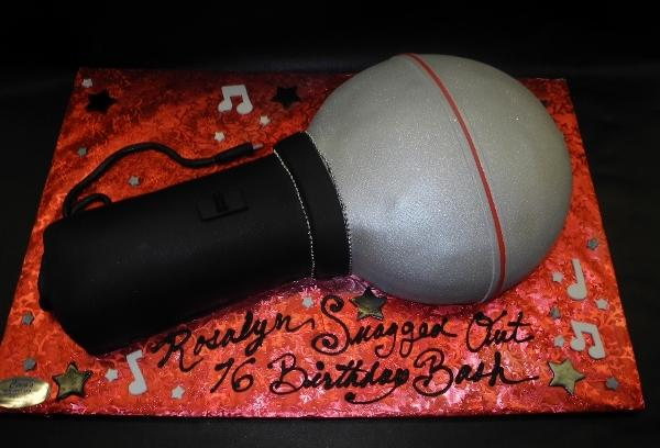 Microphone Fondant Cake with Edible Musical Notes