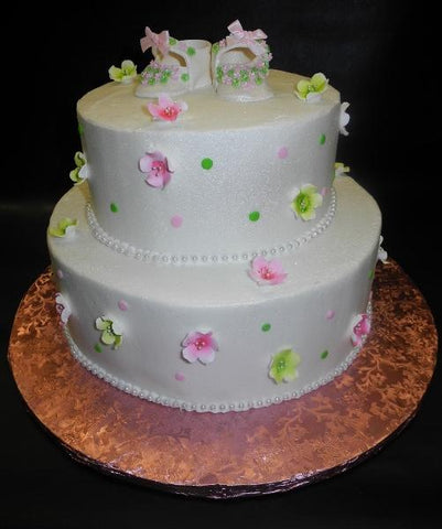 Fruit Blossom Icing Cake with Fondant Edible Booties