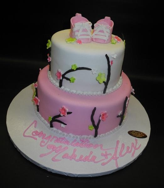 Fruit Blossom Fondant Cake with Edible Fondant Booties