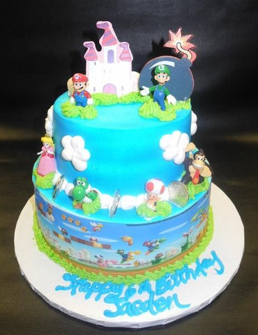 Mario Whip Cream Tier Cake with Edible Image and Mario Toys