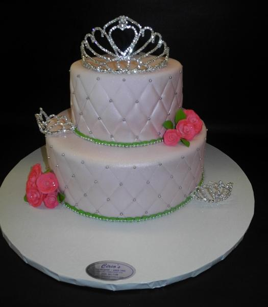 Princess Fondant Cake with Tiaras and Sugar Flowers