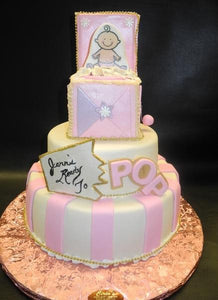 POP Fondant Baby Shower Cake with 2D Edible Image on top