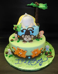 Safari Baby Bottom Fondant Cake with Edible Animal Cut-outs and tree