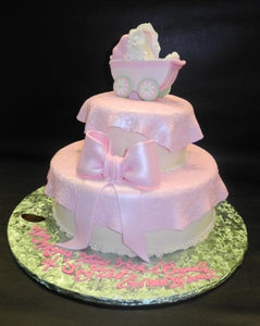 Stroller Fondant Cake with Edible Bow