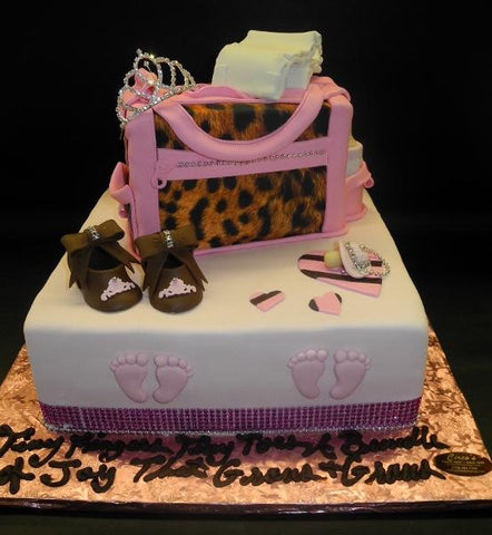 Cheetah Diaper Bag Cake with Edible Booties, Pacifier, and Hot Pink Diamonds Around