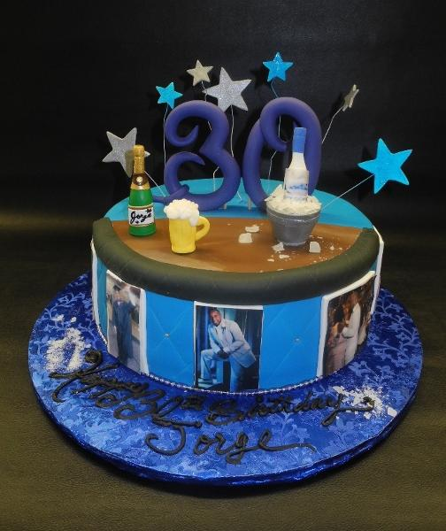 Bar Fondant 30th Birthday Cake with Edible Images Around