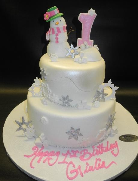 SnowFlakes Winter Wonderland Fondant Cake with Edible Snowman Cake Topper