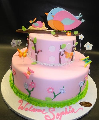 Bird Garden Fondant Baby Shower Cake