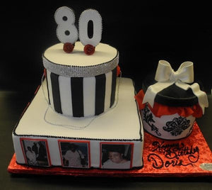Hat Box 80th Birthday Fondant Custom Cake
